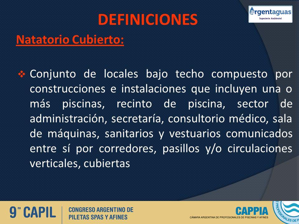 DEFINICIONES Natatorio Cubierto: