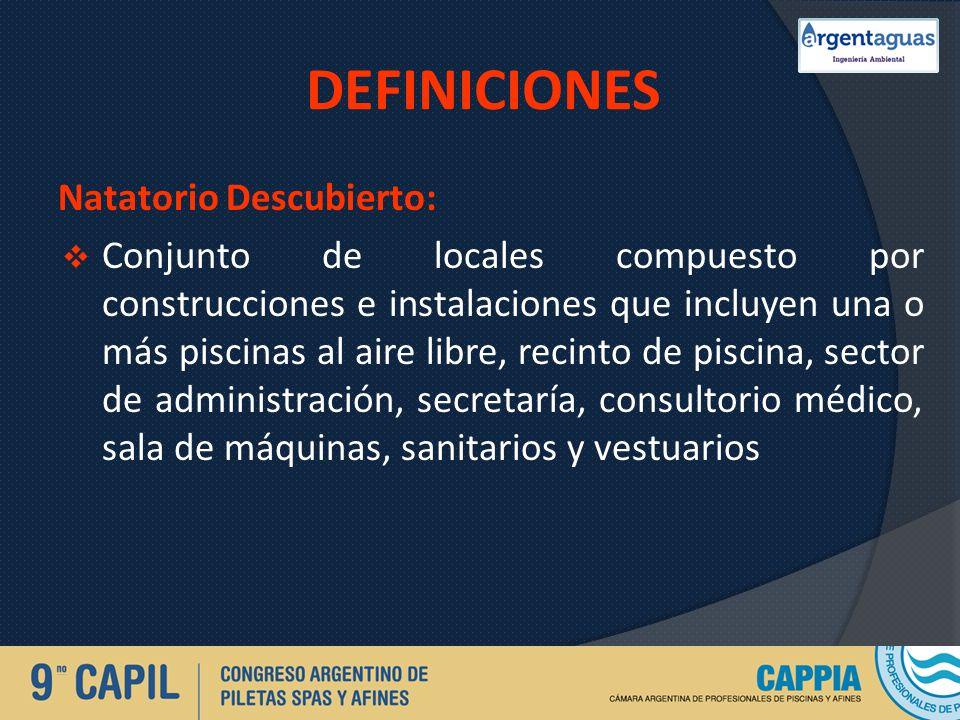 DEFINICIONES Natatorio Descubierto: