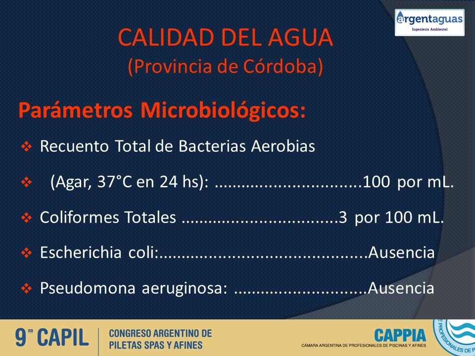 CALIDAD DEL AGUA (Provincia de Córdoba)