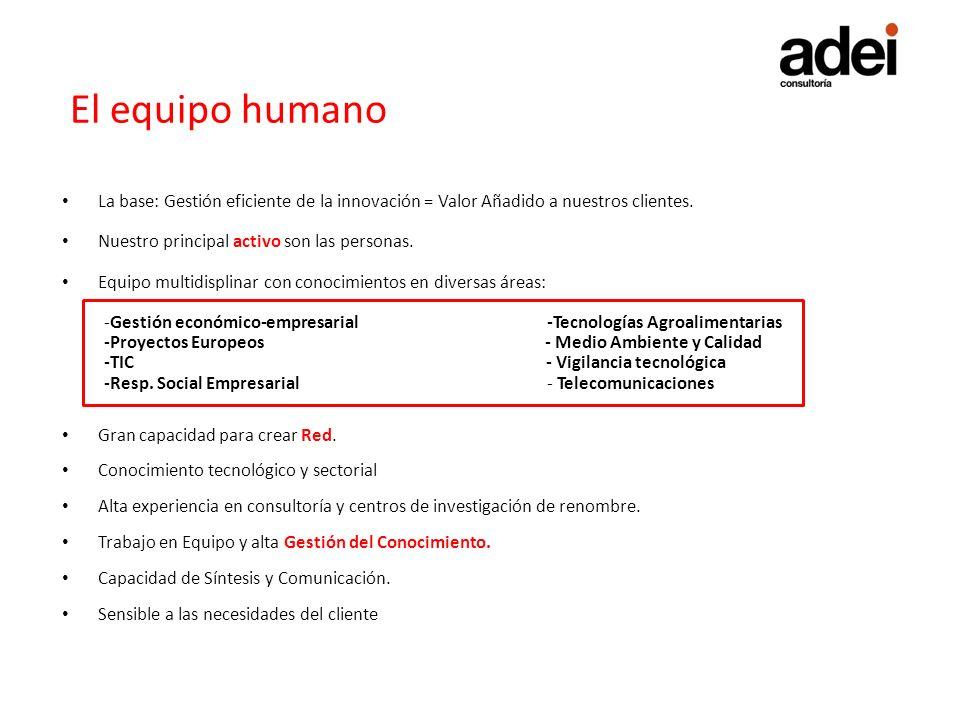 El equipo humano La base: Gestión eficiente de la innovación = Valor Añadido a nuestros clientes. Nuestro principal activo son las personas.