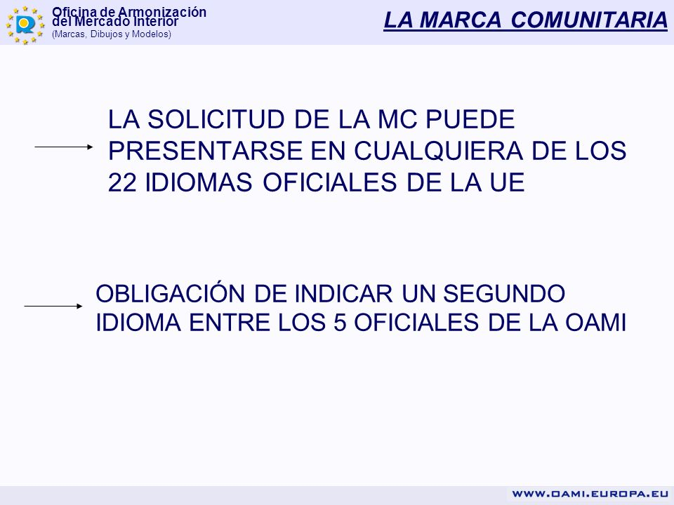 LA MARCA COMUNITARIA LA SOLICITUD DE LA MC PUEDE PRESENTARSE EN CUALQUIERA DE LOS 22 IDIOMAS OFICIALES DE LA UE.