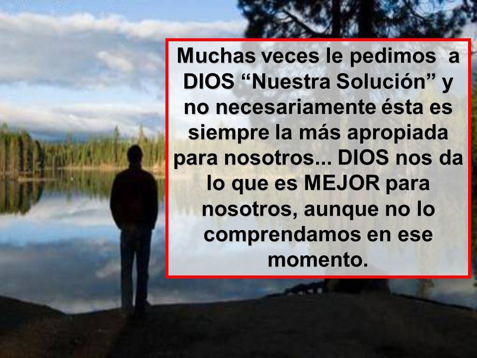 Muchas veces le pedimos a DIOS Nuestra Solución y no necesariamente ésta es siempre la más apropiada para nosotros...