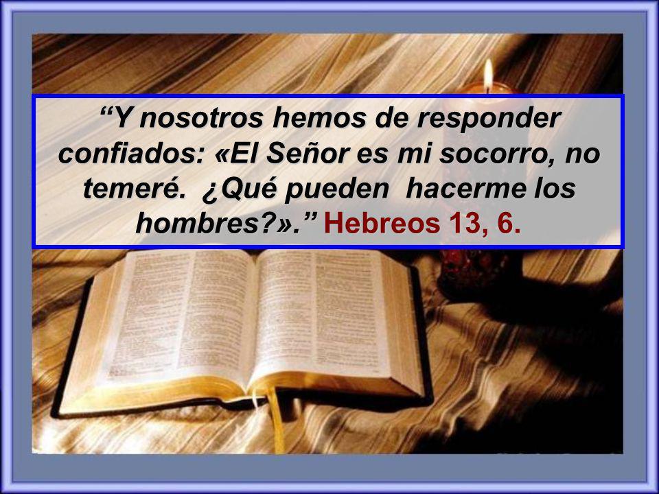 Y nosotros hemos de responder confiados: «El Señor es mi socorro, no temeré.