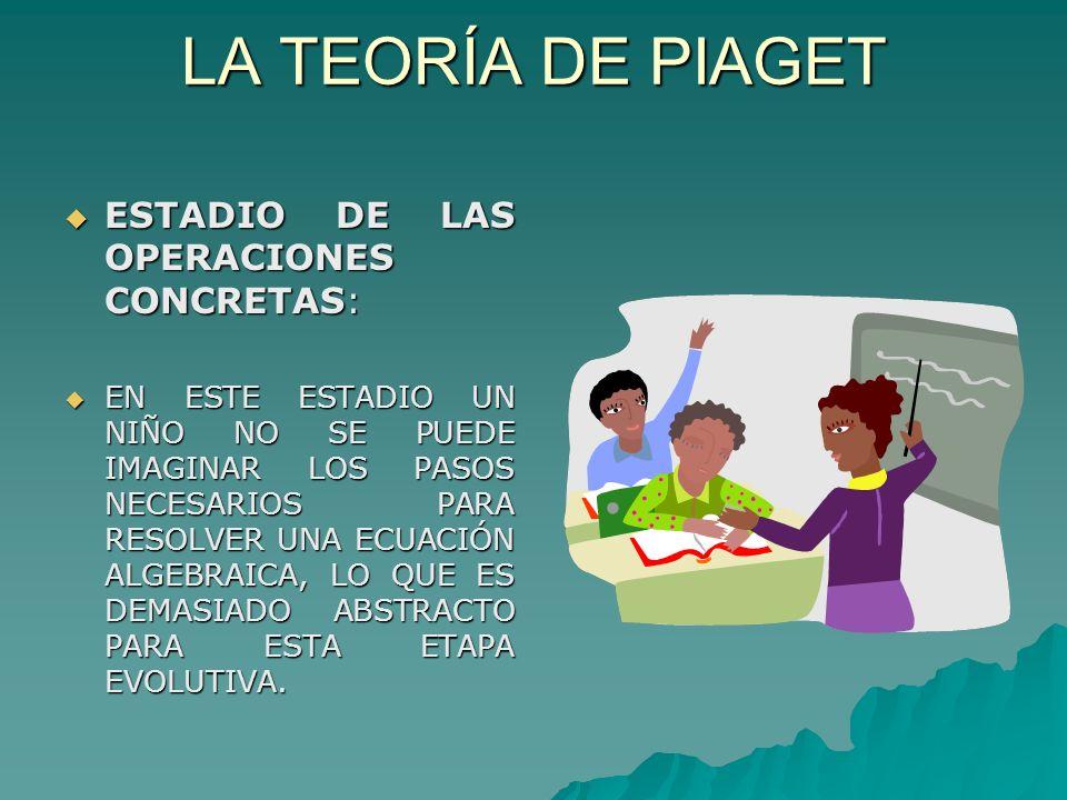 LA TEORÍA DE PIAGET ESTADIO DE LAS OPERACIONES CONCRETAS: