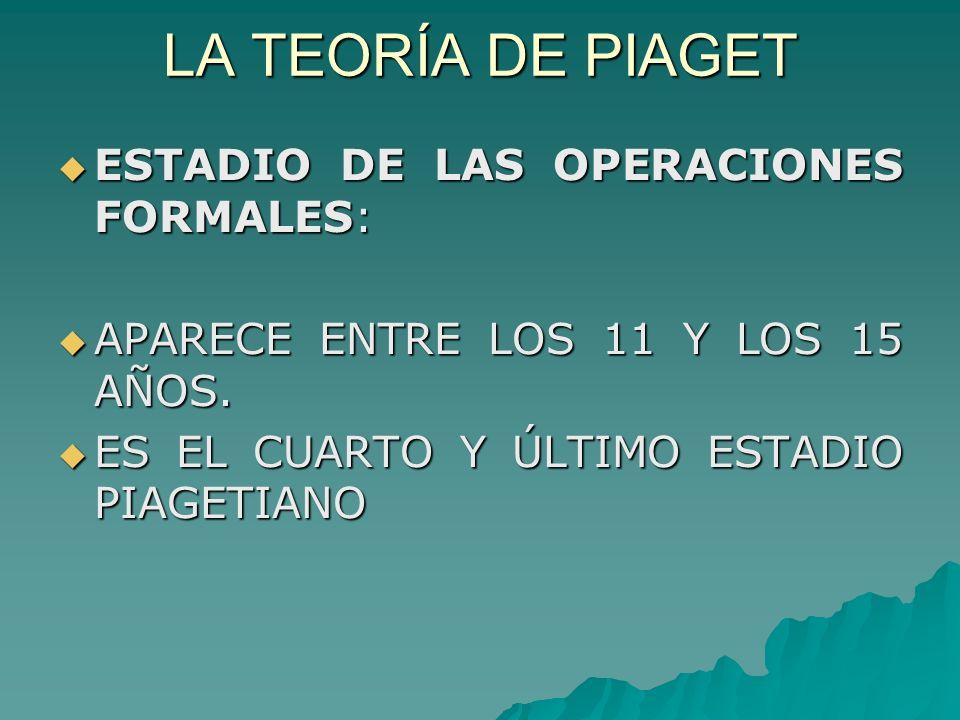 LA TEORÍA DE PIAGET ESTADIO DE LAS OPERACIONES FORMALES: