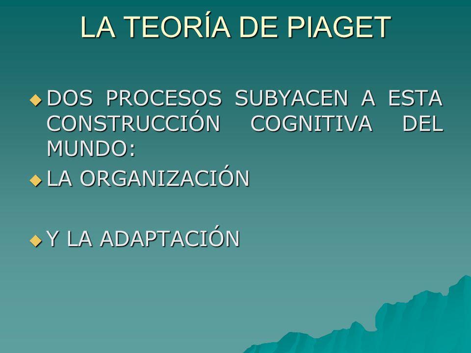 LA TEORÍA DE PIAGET DOS PROCESOS SUBYACEN A ESTA CONSTRUCCIÓN COGNITIVA DEL MUNDO: LA ORGANIZACIÓN.