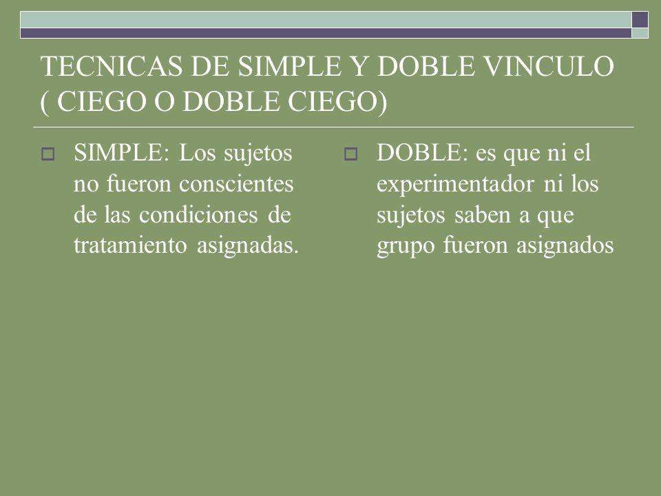 TECNICAS DE SIMPLE Y DOBLE VINCULO ( CIEGO O DOBLE CIEGO)