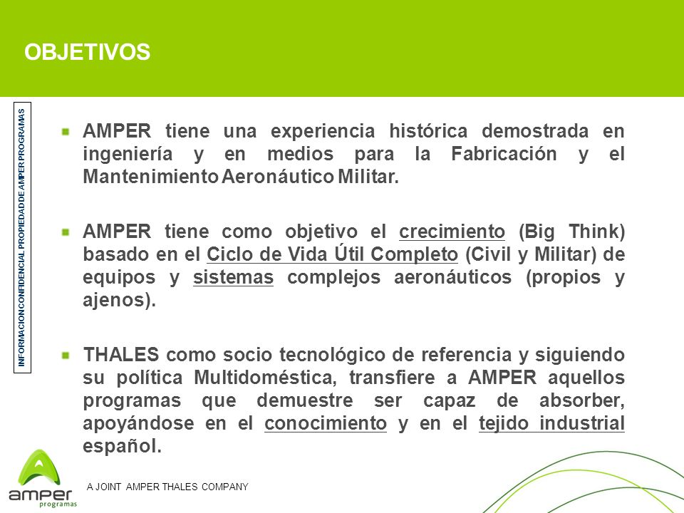 INFORMACION CONFIDENCIAL PROPIEDAD DE AMPER PROGRAMAS