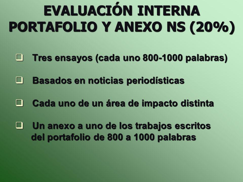 EVALUACIÓN INTERNA PORTAFOLIO Y ANEXO NS (20%)