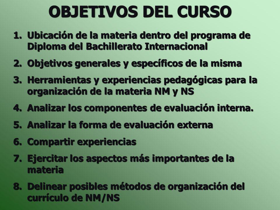 OBJETIVOS DEL CURSO TISG 4-5 de Diciembre de 2006. Ubicación de la materia dentro del programa de Diploma del Bachillerato Internacional.
