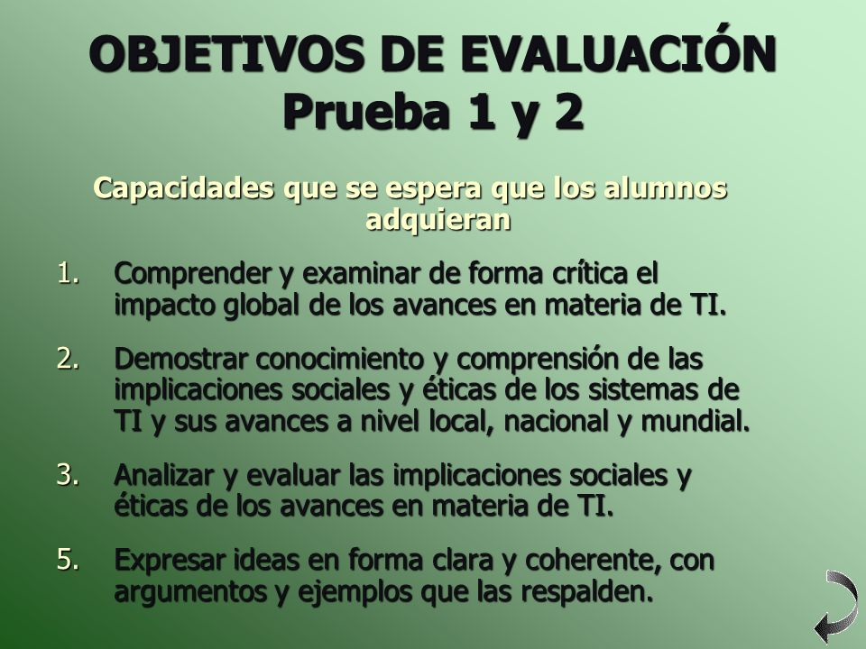 OBJETIVOS DE EVALUACIÓN Prueba 1 y 2