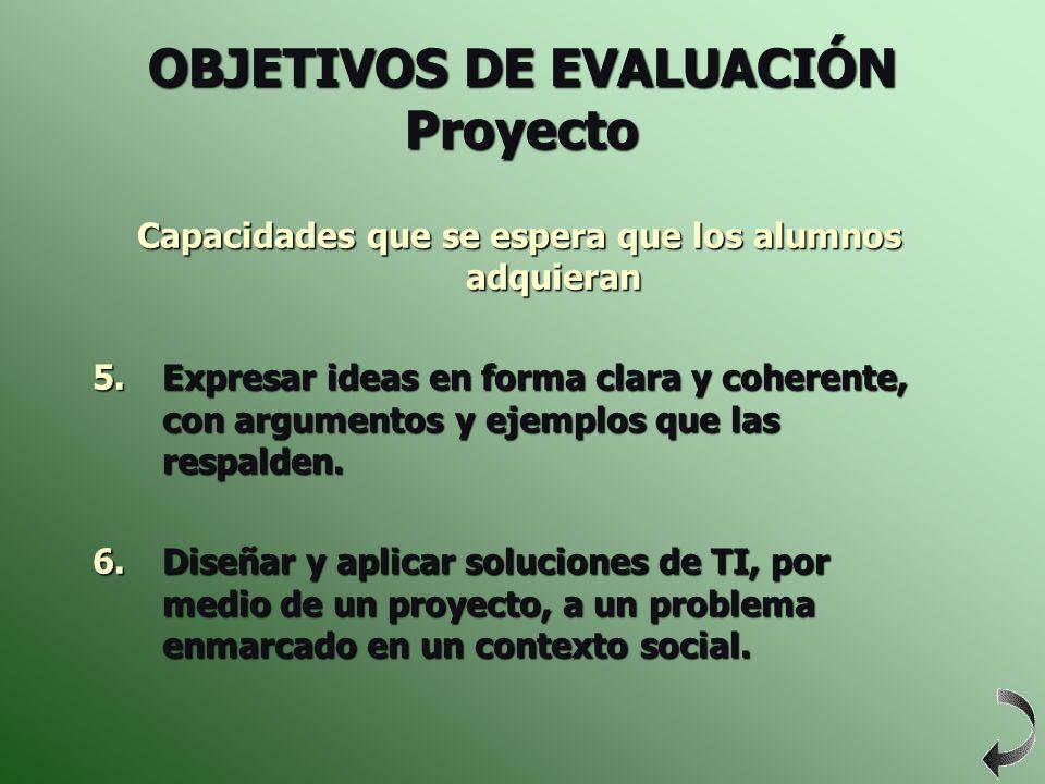 OBJETIVOS DE EVALUACIÓN Proyecto
