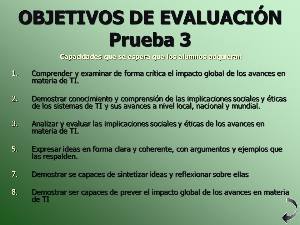 OBJETIVOS DE EVALUACIÓN Prueba 3