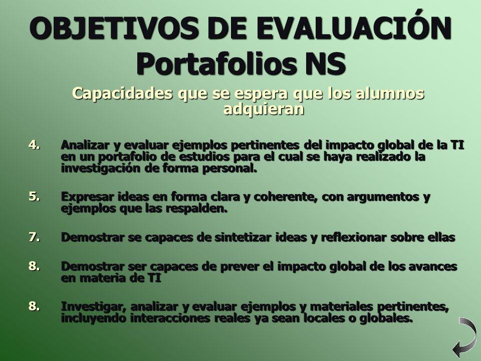 OBJETIVOS DE EVALUACIÓN Portafolios NS