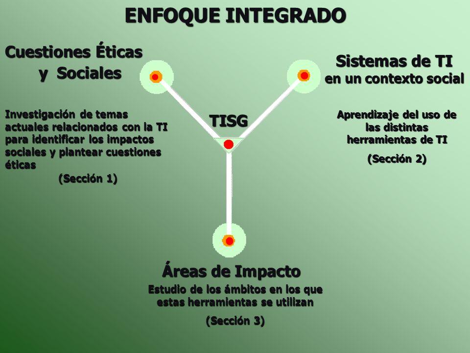 ENFOQUE INTEGRADO Cuestiones Éticas Sistemas de TI y Sociales TISG