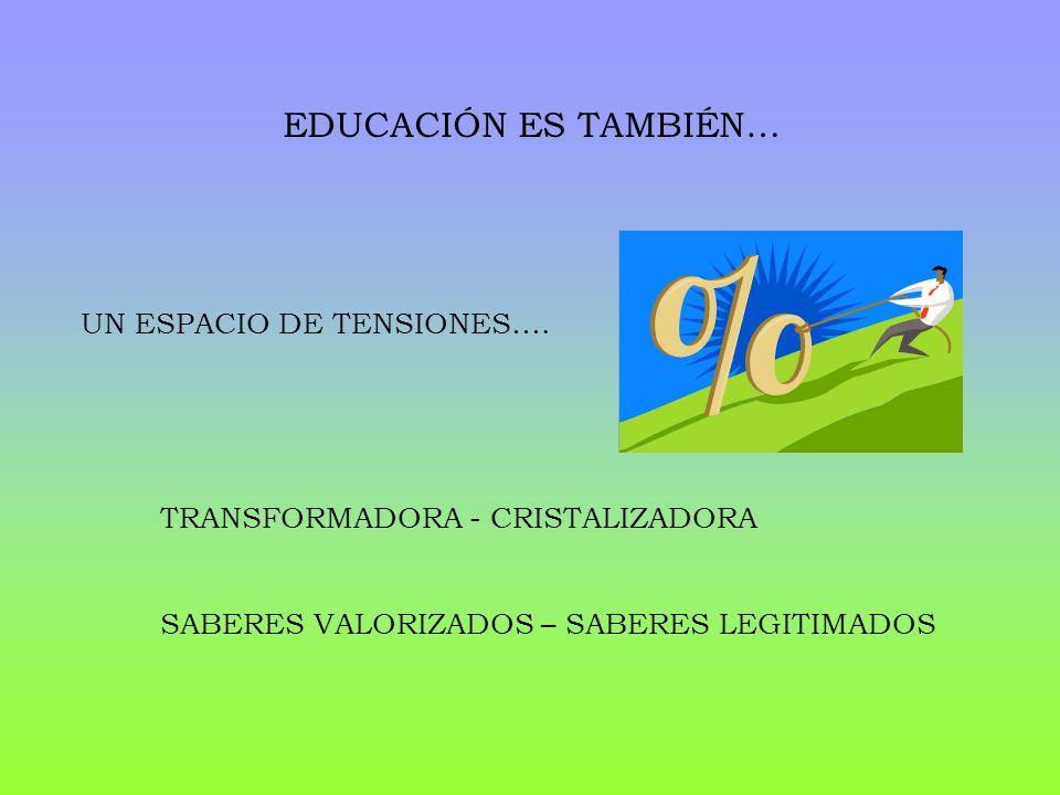 EDUCACIÓN ES TAMBIÉN… UN ESPACIO DE TENSIONES….