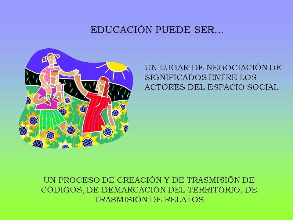EDUCACIÓN PUEDE SER… UN LUGAR DE NEGOCIACIÓN DE SIGNIFICADOS ENTRE LOS ACTORES DEL ESPACIO SOCIAL.