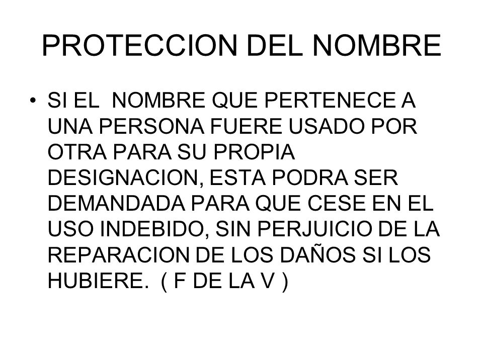 PROTECCION DEL NOMBRE