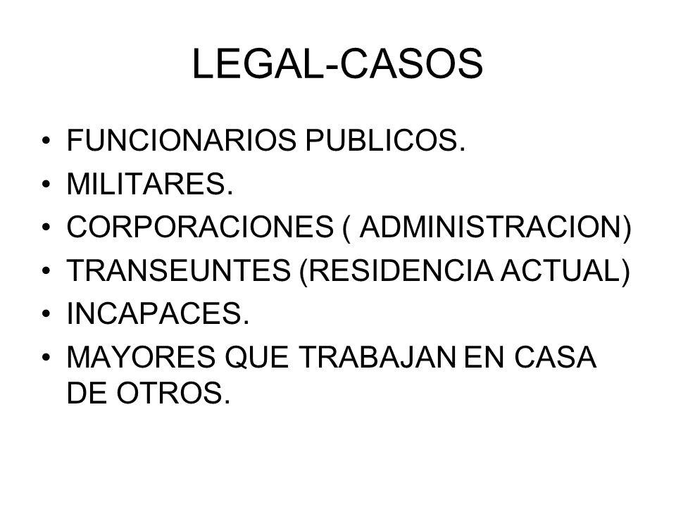 LEGAL-CASOS FUNCIONARIOS PUBLICOS. MILITARES.
