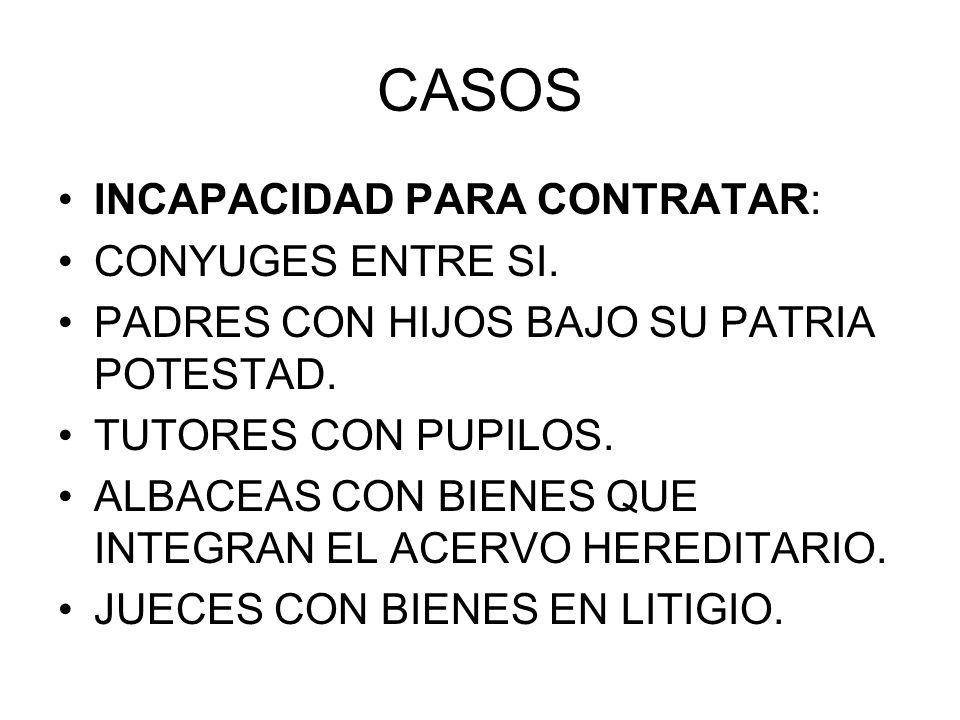 CASOS INCAPACIDAD PARA CONTRATAR: CONYUGES ENTRE SI.