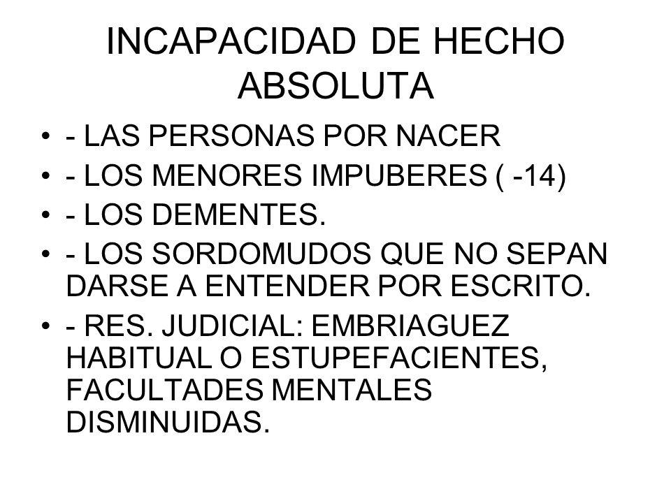 INCAPACIDAD DE HECHO ABSOLUTA