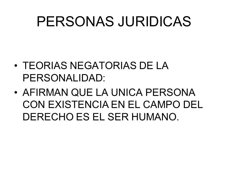 PERSONAS JURIDICAS TEORIAS NEGATORIAS DE LA PERSONALIDAD: