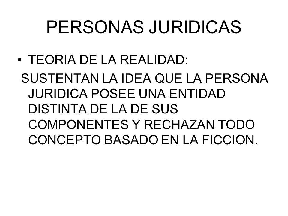 PERSONAS JURIDICAS TEORIA DE LA REALIDAD: