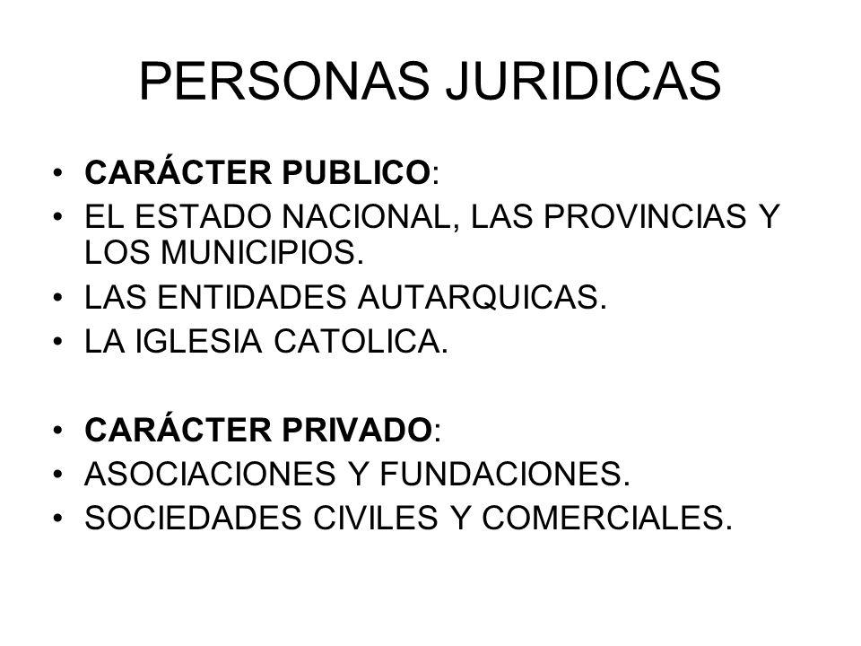 PERSONAS JURIDICAS CARÁCTER PUBLICO: