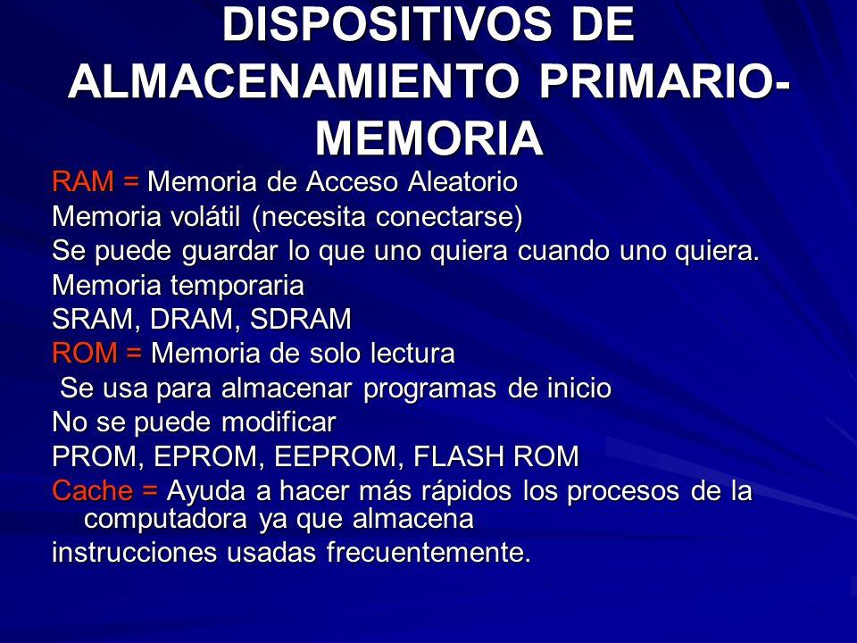 DISPOSITIVOS DE ALMACENAMIENTO PRIMARIO- MEMORIA