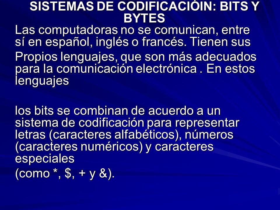 SISTEMAS DE CODIFICACIÓIN: BITS Y BYTES