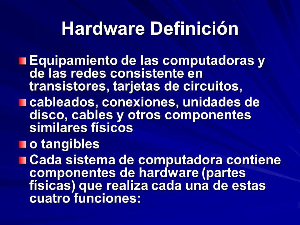 Hardware Definición Equipamiento de las computadoras y de las redes consistente en transistores, tarjetas de circuitos,