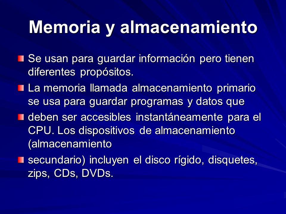 Memoria y almacenamiento