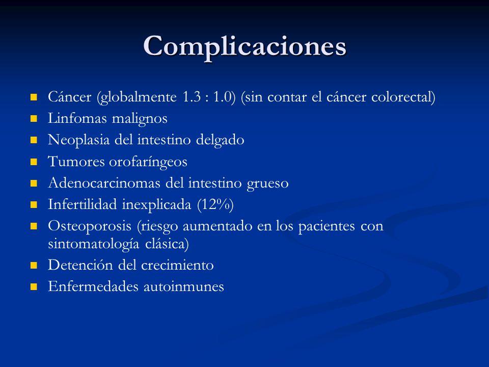 Complicaciones Cáncer (globalmente 1.3 : 1.0) (sin contar el cáncer colorectal) Linfomas malignos.
