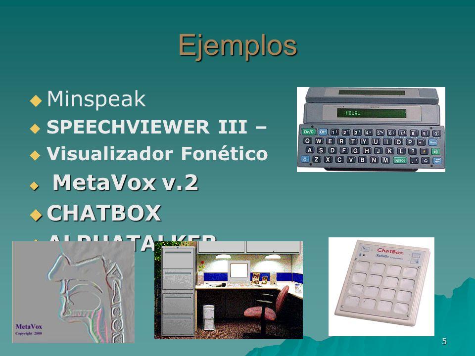 Ejemplos Minspeak CHATBOX ALPHATALKER SPEECHVIEWER III –
