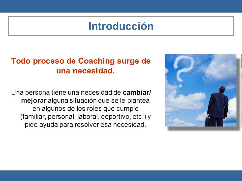 Todo proceso de Coaching surge de una necesidad.