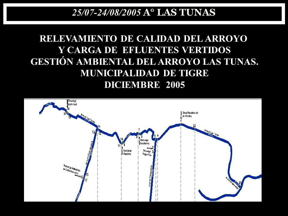 RELEVAMIENTO DE CALIDAD DEL ARROYO Y CARGA DE EFLUENTES VERTIDOS