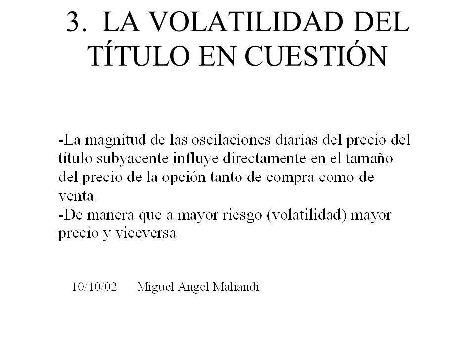 3. LA VOLATILIDAD DEL TÍTULO EN CUESTIÓN