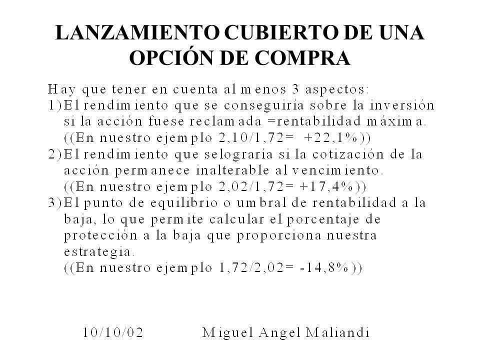 LANZAMIENTO CUBIERTO DE UNA OPCIÓN DE COMPRA