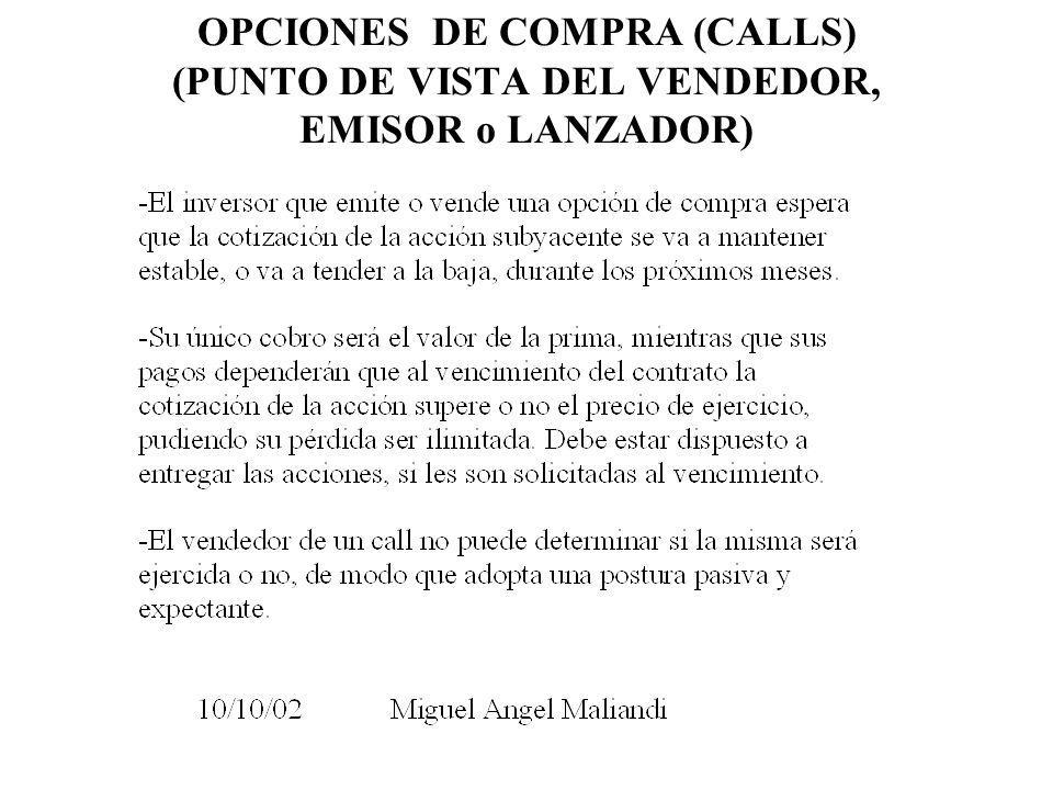 OPCIONES DE COMPRA (CALLS) (PUNTO DE VISTA DEL VENDEDOR, EMISOR o LANZADOR)