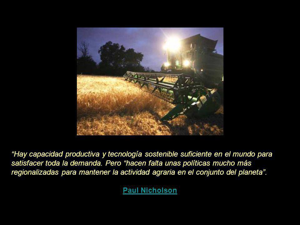 Hay capacidad productiva y tecnología sostenible suficiente en el mundo para satisfacer toda la demanda. Pero hacen falta unas políticas mucho más regionalizadas para mantener la actividad agraria en el conjunto del planeta .