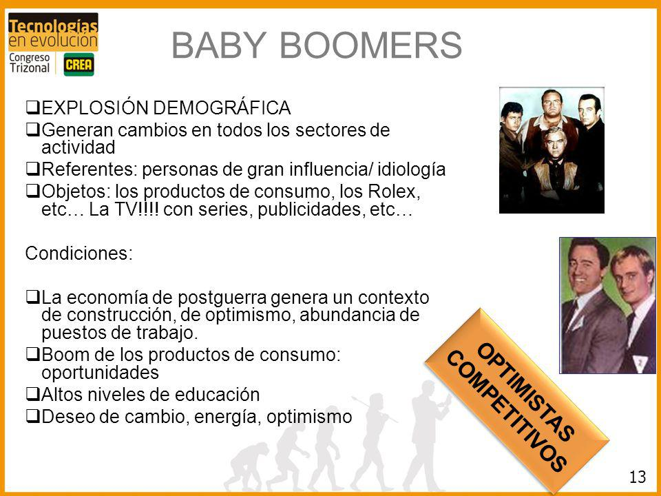 BABY BOOMERS OPTIMISTAS COMPETITIVOS EXPLOSIÓN DEMOGRÁFICA