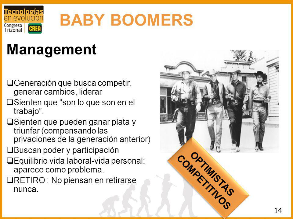 BABY BOOMERS Management OPTIMISTAS COMPETITIVOS