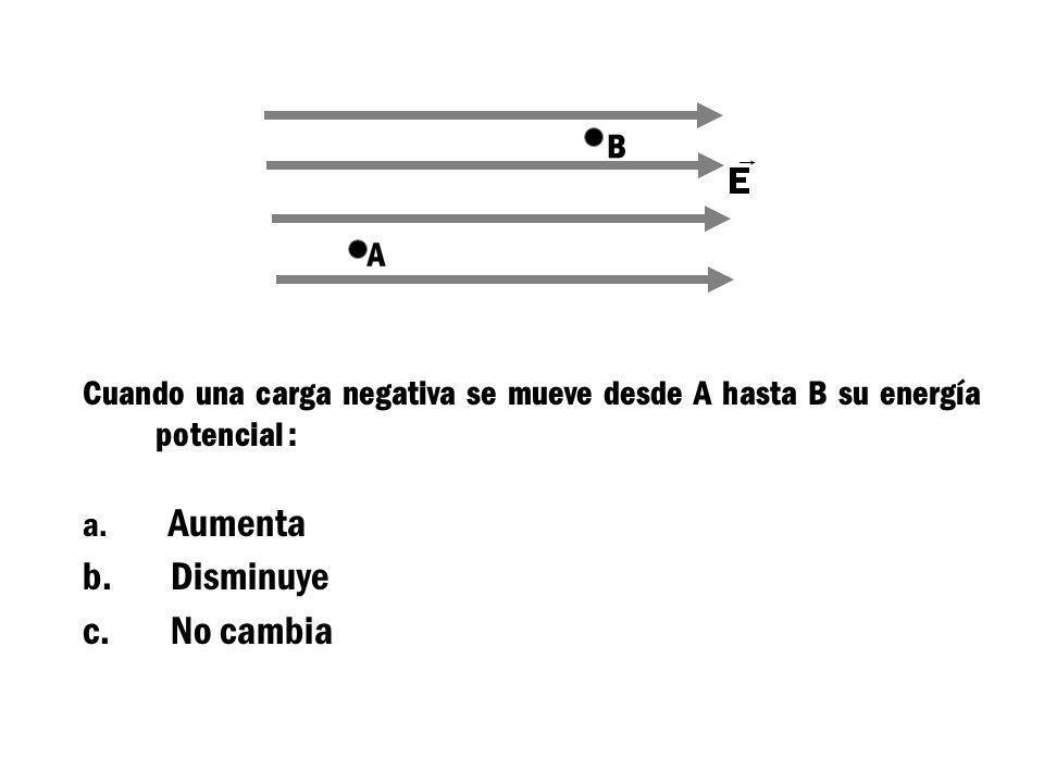 B A. Cuando una carga negativa se mueve desde A hasta B su energía potencial : Aumenta. Disminuye.