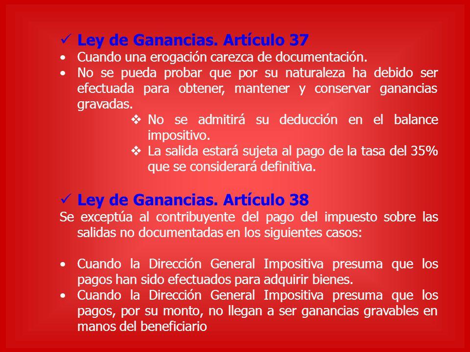 Ley de Ganancias. Artículo 37