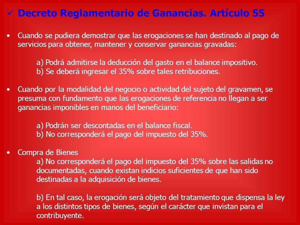 Decreto Reglamentario de Ganancias. Artículo 55