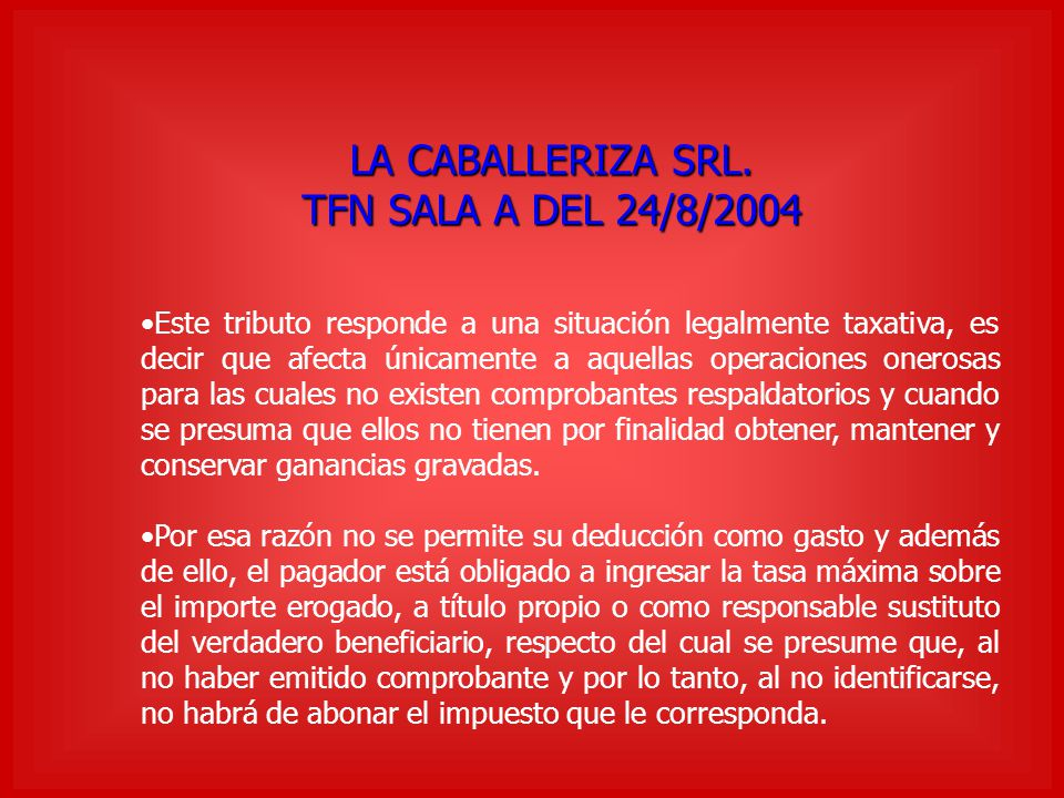 LA CABALLERIZA SRL. TFN SALA A DEL 24/8/2004