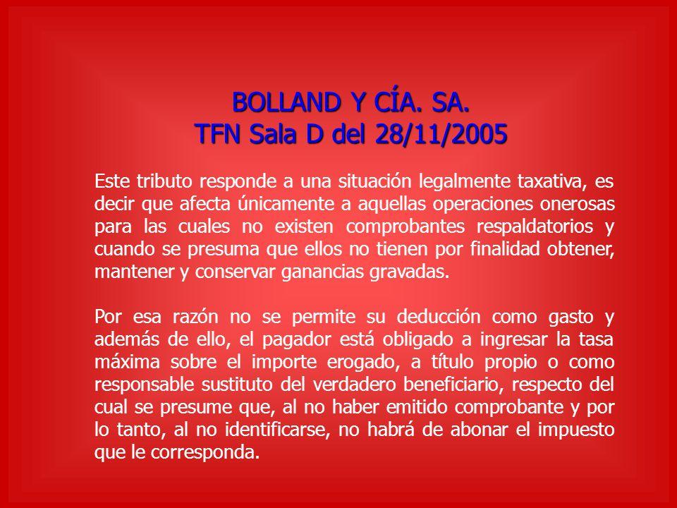 BOLLAND Y CÍA. SA. TFN Sala D del 28/11/2005