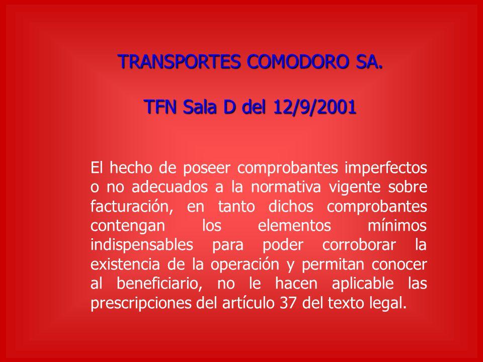 TRANSPORTES COMODORO SA.