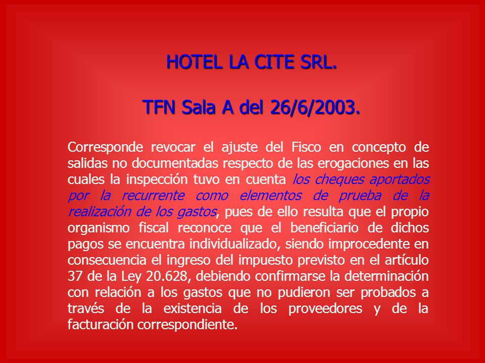 HOTEL LA CITE SRL. TFN Sala A del 26/6/2003.