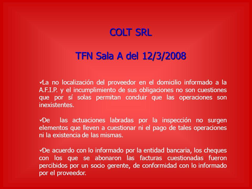 COLT SRL TFN Sala A del 12/3/2008